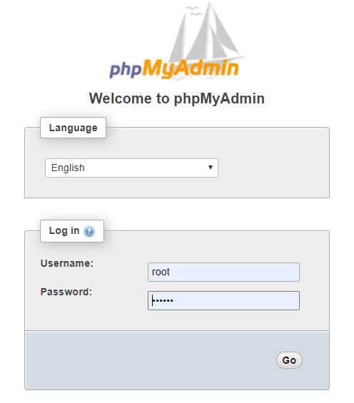 phpMyadmin đăng nhập để import database
