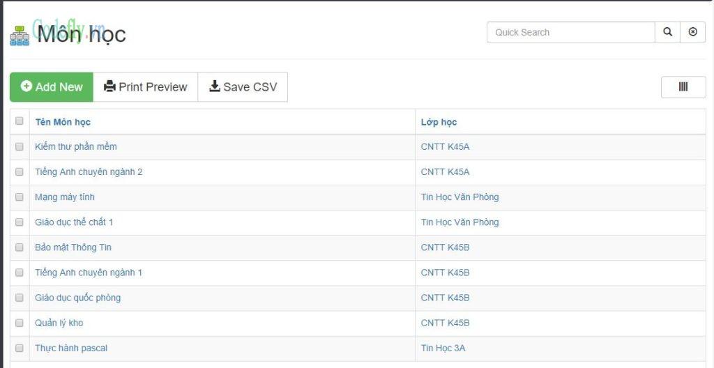 Hệ thống xếp lịch học tín chỉ cho sinh viên CNTT trong PHP & MySQL