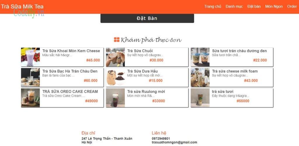 Website bán trà sữa đặt bàn gọi món trực tuyến chuyên nghiệp