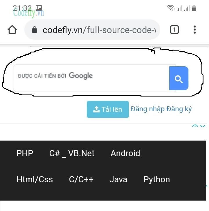 Bước 3.1 Tìm kiếm trực tiếp trên trang Codefly.vn