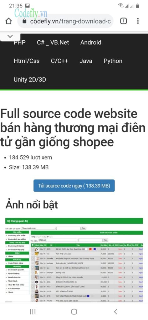 Bước 7: Click tải source code ngay (trang tải này thường được mở trên desktop của bạn)