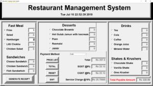 Hệ thống quản lý nhà hàng bằng Python